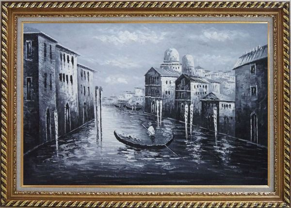 Framed Venice Gondola in Black and White Oil Painting Italy Impressionism Exquisite Gold Wood Frame 30 x 42 Inches