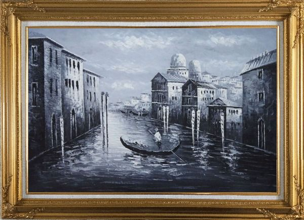 Framed Venice Gondola in Black and White Oil Painting Italy Impressionism Gold Wood Frame with Deco Corners 31 x 43 Inches