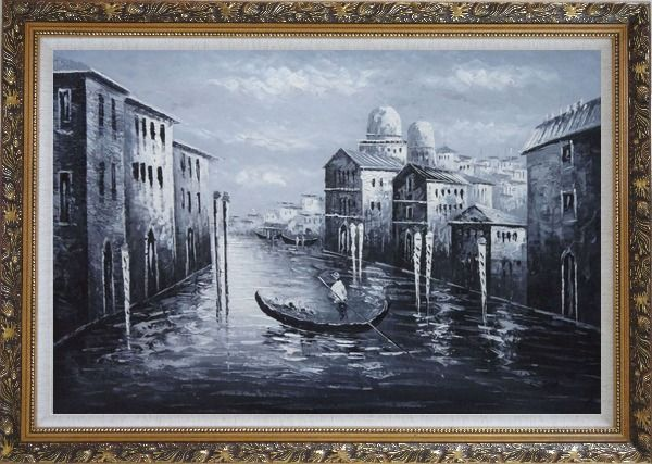 Framed Venice Gondola in Black and White Oil Painting Italy Impressionism Ornate Antique Dark Gold Wood Frame 30 x 42 Inches