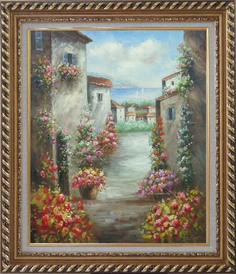 Framed Mediterranean Villa Oil Painting Impressionism Exquisite Gold Wood Frame 30 x 26 Inches