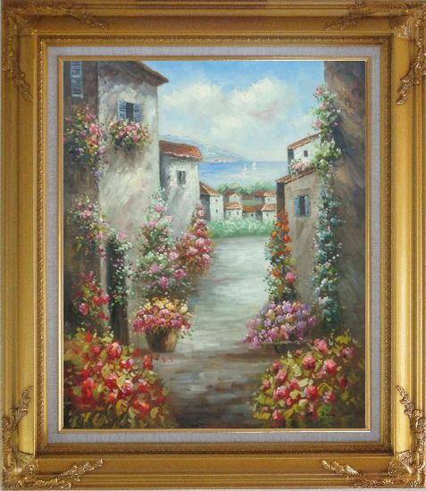Framed Mediterranean Villa Oil Painting Impressionism Gold Wood Frame with Deco Corners 31 x 27 Inches