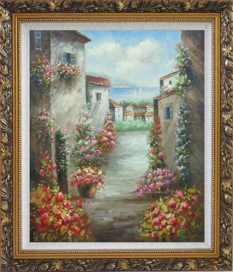 Framed Mediterranean Villa Oil Painting Impressionism Ornate Antique Dark Gold Wood Frame 30 x 26 Inches