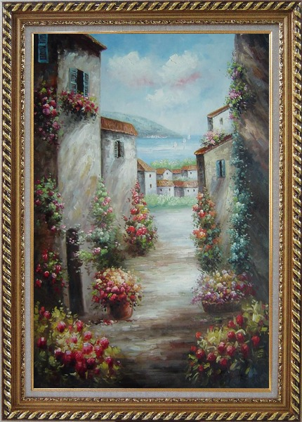 Framed Mediterranean Villa Oil Painting Impressionism Exquisite Gold Wood Frame 42 x 30 Inches