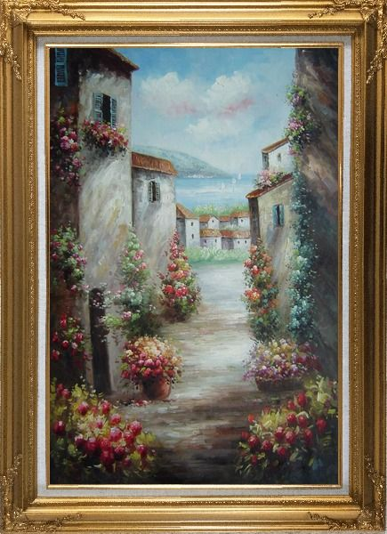 Framed Mediterranean Villa Oil Painting Impressionism Gold Wood Frame with Deco Corners 43 x 31 Inches