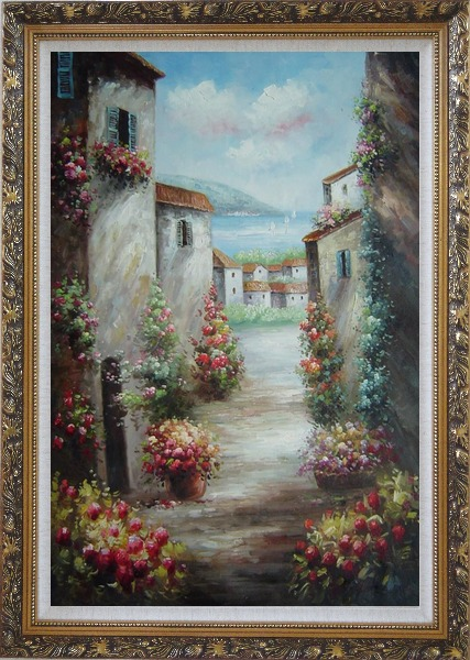 Framed Mediterranean Villa Oil Painting Impressionism Ornate Antique Dark Gold Wood Frame 42 x 30 Inches