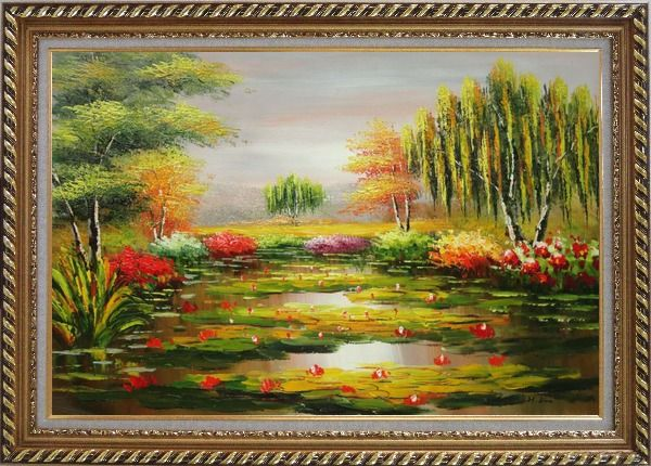 Framed Waterlily Pond, Weeping Willow and Flowers Oil Painting Landscape River Naturalism Exquisite Gold Wood Frame 30 x 42 Inches