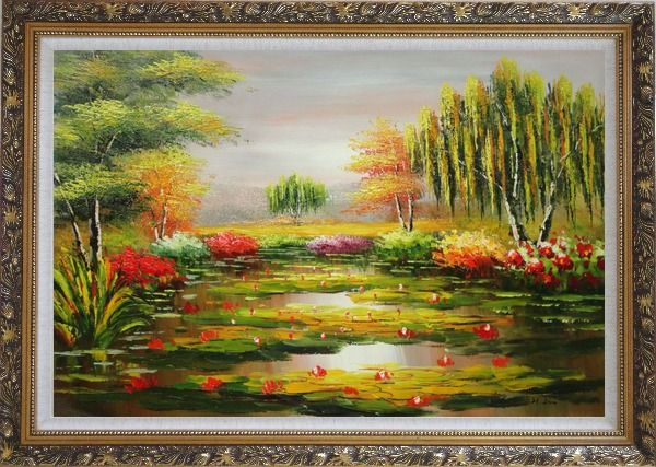 Framed Waterlily Pond, Weeping Willow and Flowers Oil Painting Landscape River Naturalism Ornate Antique Dark Gold Wood Frame 30 x 42 Inches