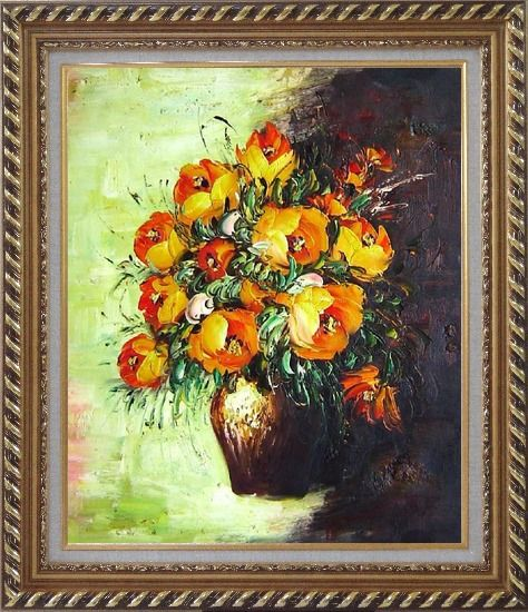 Framed Blooming Roses Bouquet Oil Painting Flower Still Life Impressionism Exquisite Gold Wood Frame 30 x 26 Inches