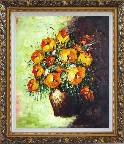 Framed Blooming Roses Bouquet Oil Painting Flower Still Life Impressionism Ornate Antique Dark Gold Wood Frame 30 x 26 Inches
