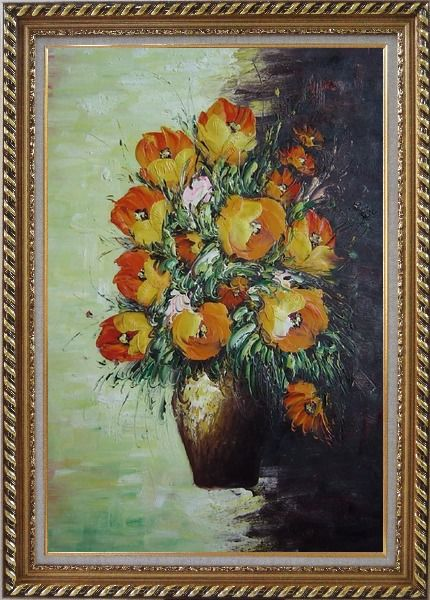 Framed Blooming Roses Bouquet Oil Painting Flower Still Life Impressionism Exquisite Gold Wood Frame 42 x 30 Inches