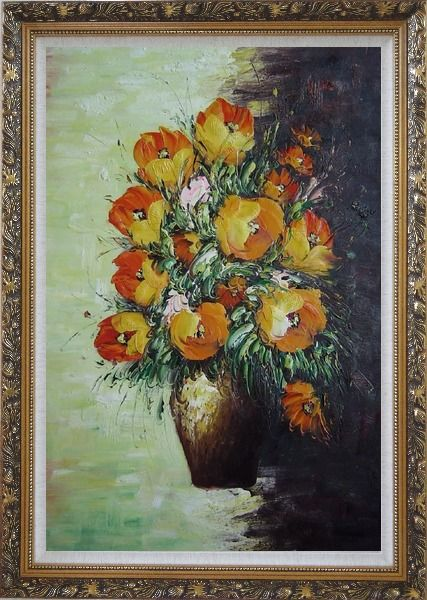 Framed Blooming Roses Bouquet Oil Painting Flower Still Life Impressionism Ornate Antique Dark Gold Wood Frame 42 x 30 Inches