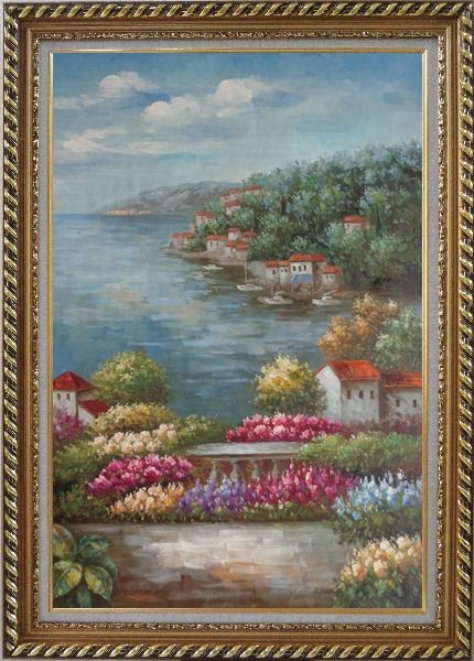 Framed Mediterranean View from a Flower Garden Oil Painting Naturalism Exquisite Gold Wood Frame 42 x 30 Inches