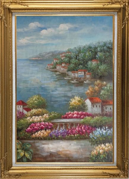 Framed Mediterranean View from a Flower Garden Oil Painting Naturalism Gold Wood Frame with Deco Corners 43 x 31 Inches