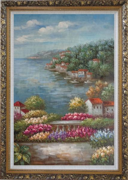 Framed Mediterranean View from a Flower Garden Oil Painting Naturalism Ornate Antique Dark Gold Wood Frame 42 x 30 Inches