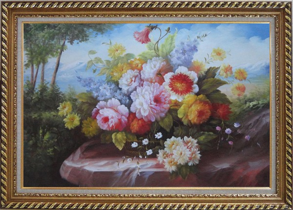 Framed Outdoor Still Life Basket Of Flowers On Rock In A Landscape With Tree and Mountains Oil Painting Bouquet Classic Exquisite Gold Wood Frame 30 x 42 Inches