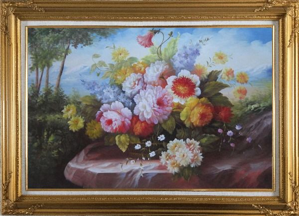 Framed Outdoor Still Life Basket Of Flowers On Rock In A Landscape With Tree and Mountains Oil Painting Bouquet Classic Gold Wood Frame with Deco Corners 31 x 43 Inches