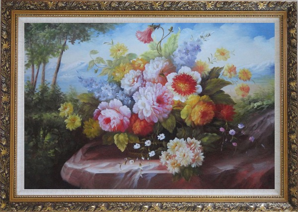 Framed Outdoor Still Life Basket Of Flowers On Rock In A Landscape With Tree and Mountains Oil Painting Bouquet Classic Ornate Antique Dark Gold Wood Frame 30 x 42 Inches