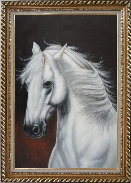 Framed White Horse With Long Manes in Brown Background Oil Painting Animal Naturalism Exquisite Gold Wood Frame 42 x 30 Inches