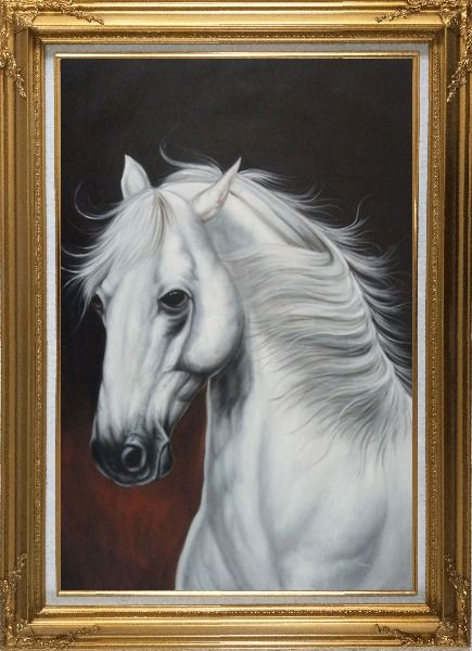 Framed White Horse With Long Manes in Brown Background Oil Painting Animal Naturalism Gold Wood Frame with Deco Corners 43 x 31 Inches