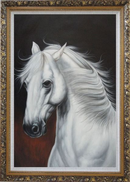 Framed White Horse With Long Manes in Brown Background Oil Painting Animal Naturalism Ornate Antique Dark Gold Wood Frame 42 x 30 Inches