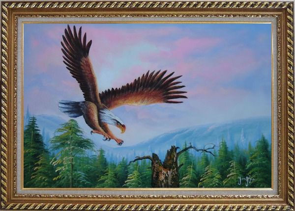 Framed American Eagle, Landscape Scenery Oil Painting Animal Naturalism Exquisite Gold Wood Frame 30 x 42 Inches