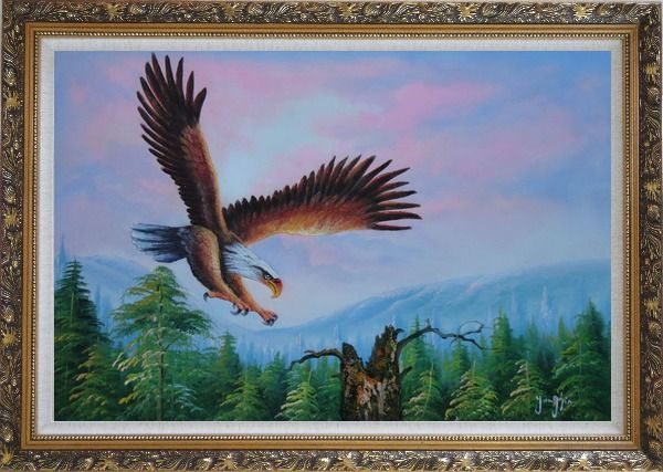 Framed American Eagle, Landscape Scenery Oil Painting Animal Naturalism Ornate Antique Dark Gold Wood Frame 30 x 42 Inches