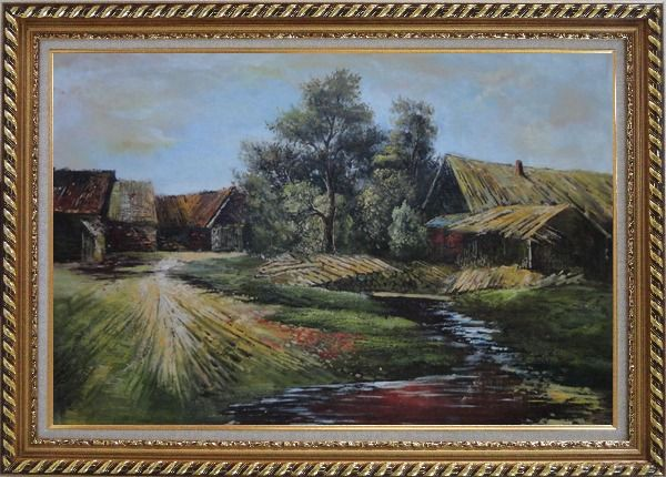Framed Old Rural Village, Cottage, Pile of Wood, Small Creek Oil Painting Classic Exquisite Gold Wood Frame 30 x 42 Inches
