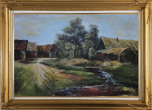 Framed Old Rural Village, Cottage, Pile of Wood, Small Creek Oil Painting Classic Gold Wood Frame with Deco Corners 31 x 43 Inches