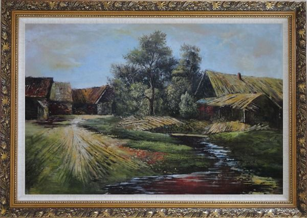 Framed Old Rural Village, Cottage, Pile of Wood, Small Creek Oil Painting Classic Ornate Antique Dark Gold Wood Frame 30 x 42 Inches