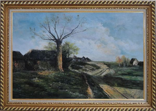 Framed Old Village, Roadside Tree, Rural Path Oil Painting Classic Exquisite Gold Wood Frame 30 x 42 Inches