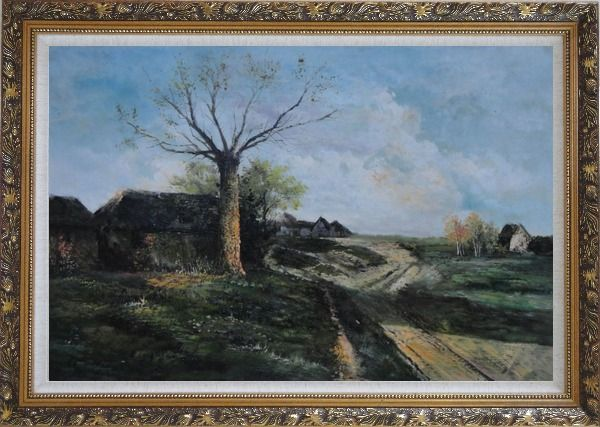 Framed Old Village, Roadside Tree, Rural Path Oil Painting Classic Ornate Antique Dark Gold Wood Frame 30 x 42 Inches
