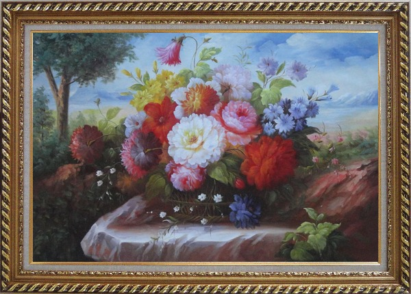 Framed Beautiful Still Life Flowers In Outdoor Setting Oil Painting Bouquet Classic Exquisite Gold Wood Frame 30 x 42 Inches