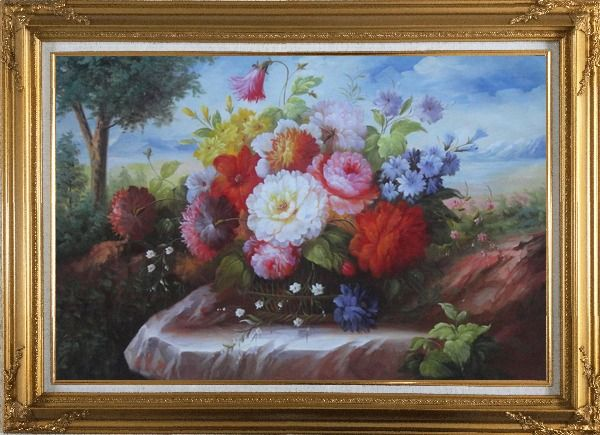 Framed Beautiful Still Life Flowers In Outdoor Setting Oil Painting Bouquet Classic Gold Wood Frame with Deco Corners 31 x 43 Inches