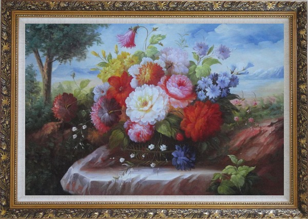 Framed Beautiful Still Life Flowers In Outdoor Setting Oil Painting Bouquet Classic Ornate Antique Dark Gold Wood Frame 30 x 42 Inches