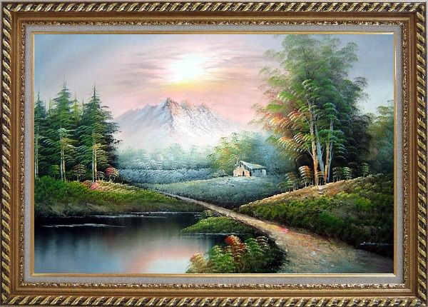 Framed Small Pond Under Snow Mountain Oil Painting Landscape Naturalism Exquisite Gold Wood Frame 30 x 42 Inches