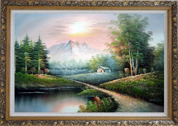 Framed Small Pond Under Snow Mountain Oil Painting Landscape Naturalism Ornate Antique Dark Gold Wood Frame 30 x 42 Inches