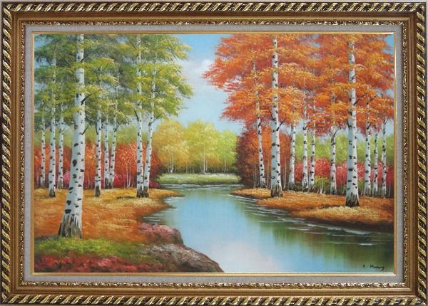 Framed Beautiful Fall Forest Nature Scenery With Stream Passing Through Oil Painting Landscape Tree Autumn Naturalism Exquisite Gold Wood Frame 30 x 42 Inches