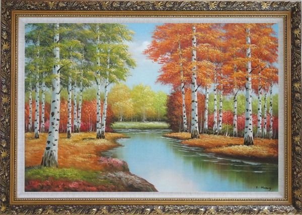 Framed Beautiful Fall Forest Nature Scenery With Stream Passing Through Oil Painting Landscape Tree Autumn Naturalism Ornate Antique Dark Gold Wood Frame 30 x 42 Inches