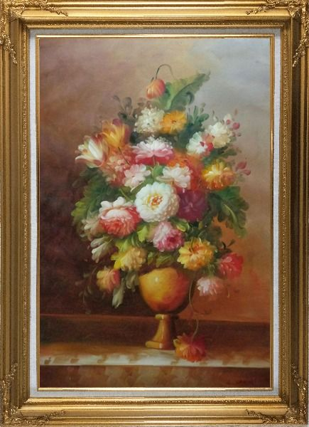 Framed Roses, Tulips, Peony, Marigolds And Other Flowers Oil Painting Still Life Bouquet Classic Gold Wood Frame with Deco Corners 43 x 31 Inches