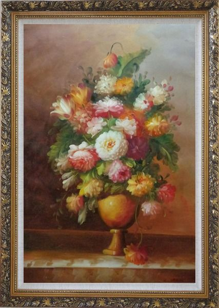 Framed Roses, Tulips, Peony, Marigolds And Other Flowers Oil Painting Still Life Bouquet Classic Ornate Antique Dark Gold Wood Frame 42 x 30 Inches