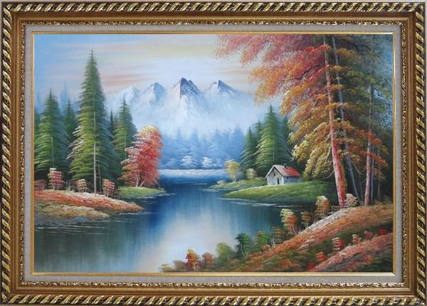 Framed Riverside Cottage in Golden Autumn Oil Painting Landscape Naturalism Exquisite Gold Wood Frame 30 x 42 Inches