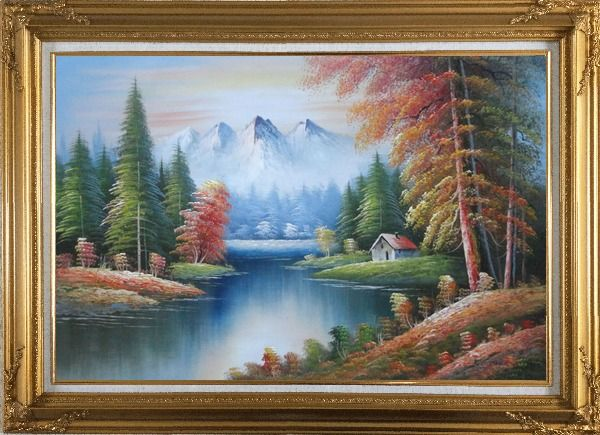 Framed Riverside Cottage in Golden Autumn Oil Painting Landscape Naturalism Gold Wood Frame with Deco Corners 31 x 43 Inches
