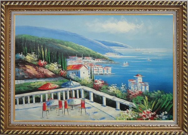 Framed Mediterranean Seashore Coastal Garden Oil Painting Naturalism Exquisite Gold Wood Frame 30 x 42 Inches