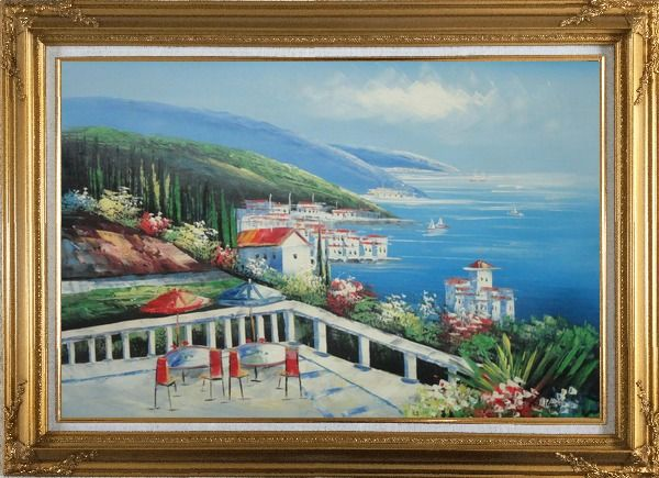 Framed Mediterranean Seashore Coastal Garden Oil Painting Naturalism Gold Wood Frame with Deco Corners 31 x 43 Inches