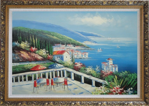 Framed Mediterranean Seashore Coastal Garden Oil Painting Naturalism Ornate Antique Dark Gold Wood Frame 30 x 42 Inches
