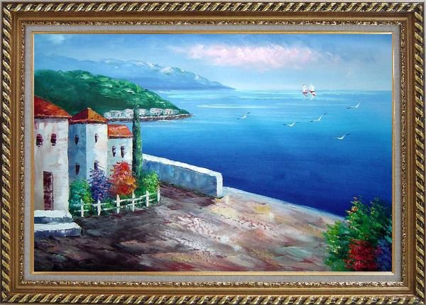 Framed Mediterranean Seashore House Oil Painting Naturalism Exquisite Gold Wood Frame 30 x 42 Inches