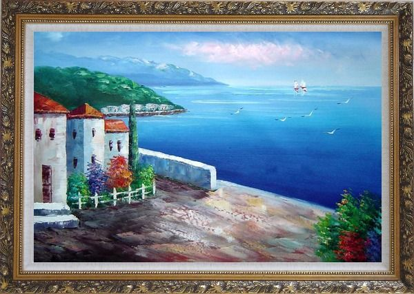 Framed Mediterranean Seashore House Oil Painting Naturalism Ornate Antique Dark Gold Wood Frame 30 x 42 Inches