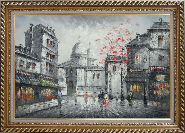 Framed Romantic Evening on Street Of Paris Oil Painting Black White Cityscape France Impressionism Exquisite Gold Wood Frame 30 x 42 Inches