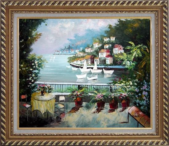Framed The Quiet Bay Oil Painting Mediterranean Naturalism Exquisite Gold Wood Frame 26 x 30 Inches