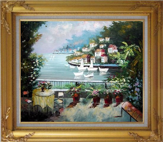 Framed The Quiet Bay Oil Painting Mediterranean Naturalism Gold Wood Frame with Deco Corners 27 x 31 Inches